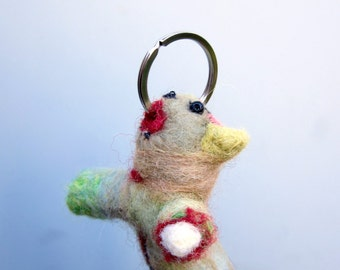 zombie keychain, zombie kitty, key chain, plush fob, creepy bloody, roadkill, with stitches, needle felted