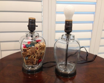 Twin Glass jar lamps vintage ready to fill with your treasurses