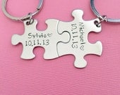 Name Date Personalized Keychains, Anniversary Gift, Couples Keychains, Puzzle Piece Keychain Set. Name Keychains, Custom Date