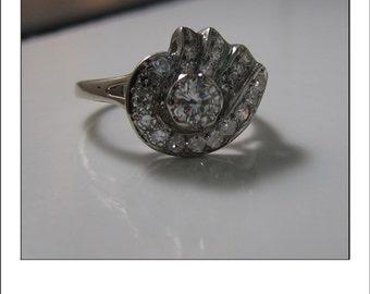 Antique Art Deco 14k .95 Ct Diamond Floral  Cluster Dinner Ring