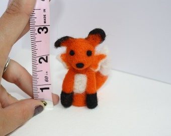 miniature fox needle felted sculpture