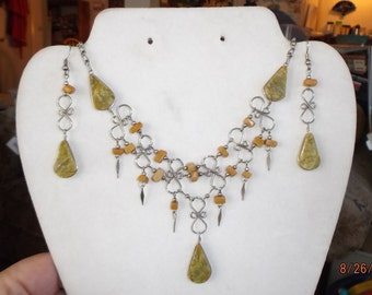 SALE Native American Style Statement Serpentine Necklace and Earrings, Southwestern, Green, Peruvian, Great Gift Ready to Ship