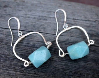 Amazonite Geometric Bead Earrings - Silver Hammered Wire - Dangle Earrings