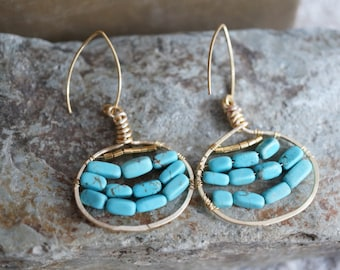 Turquoise and Gold Wire Wrapped Earrings - Bohemian Style - Blue Turquoise Earrings - Hammered Gold Hoops