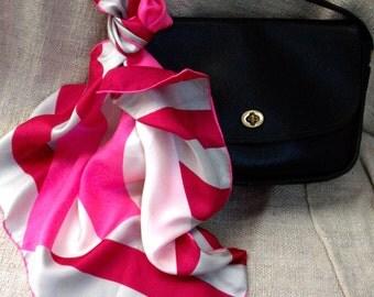 Vera Neumann vintage silk op art scarf raspberry pink gray striped free shipping USA