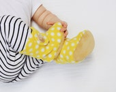 Yellow Polka Dot Baby Booties. Boots. Children Fashion. Cozy. Leather Sole. Shoes and Slippers. Toddler. Children.
