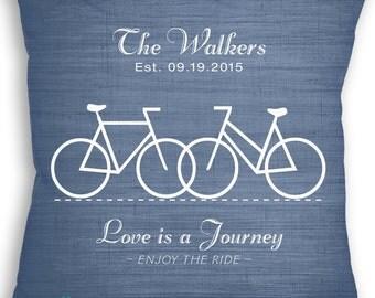 Love is a Journey - Bicycle - Custom Name Date Bike Pillow - Personalized Wedding Gift - Bike Wedding Gift - Mr & Mrs Bike Rider