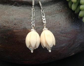 Vintage, carved bone, pikake flower earrings. Circa 1950's beads with Swarovski crystals, pearls. Hawaiian jasmine, tulip flower earrings.