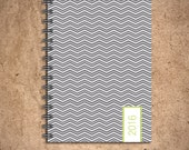 Weekly Planner - Grey/Green Chevron