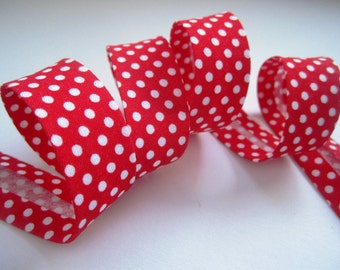 3.25yds / 3m - 18mm patterned bias binding - small white polkadot on bright red