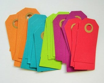 30 mixed brightly coloured parcel tags - 30x60mm, 40x70mm, 50x100mm