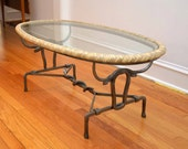 UNIQUE Vintage Hand Forged Iron Coffee Table w Glass Top - Braided Leather Edge - Western SNAKE & BULL Motif