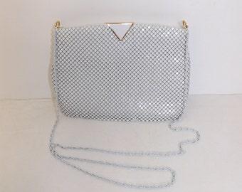 Vintage 80s white chain mail metal handbag shoulder bag chain strap Art Deco look