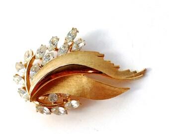 BSK Rhinestone Gold Tone Brooch Retro Mad Men Fashion Jewelry