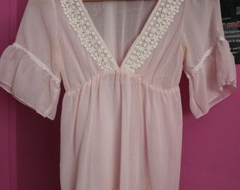 Vintage baby pink lingerie babydoll top