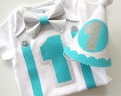 1st Birthday Boy Onesie and Party Hat Aqua and Silver Classic Style Bow Tie Onesie All In One One Piece Bodysuit Birthday Party