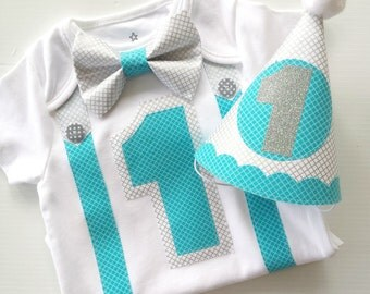 1st Birthday Boy Onesie and Party Hat Aqua and Silver Classic Style Bow Tie  All In One One Piece Bodysuit Birthday Party