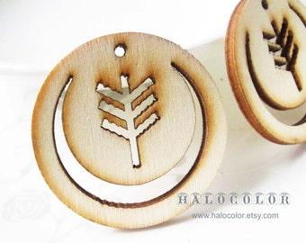 Pretty Nature  Tree Wooden Charm/pendant MH339 11