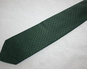 Vintage Mens Necktie Tie Monsieur Cravatieur 29 All Polyester Monochromatic Green Dot Ugly Tie Retro Mod