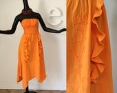 Vintage 70s Mexican Dress Hippie Boho Scarf Hem Dress Orange Cotton Gauze Cloth Strapless Ruffle Ruffled Smocked Mexico Beach Pool Cover Up