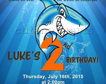 Shark Birthday Invitation Digital File - Printable invitation