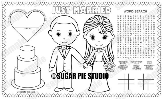 instant download printable bride groom coloring page place mat place mat activity wedding favor childrens kids placemat pdf and jpeg - Bride And Groom Coloring Pages