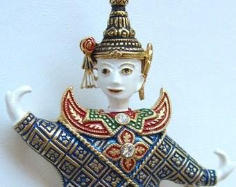 Thai Princess Vintage Figural Brooch Siamese Dancer Enamel Rhinestones 1960s Jewelry