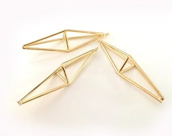 Gold Metal Open Prism Pendant, Geometric, Triangle, Abstract Necklace, Jewelry Supply G51