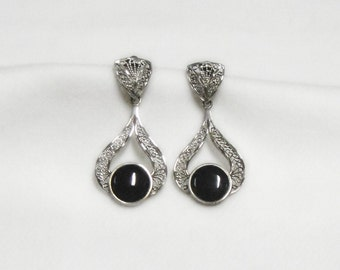 Sterling Silver and Onyx Earrings -Vintage