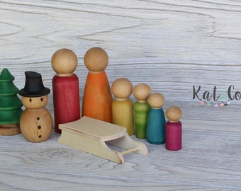 Last one!  Ready to ship  Holiday fun little people family wooden set.
