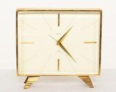 Mid Century Modern Tulip SWISA Alarm Clock Vintage  Swiss 8 Jewels