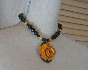 Handmade Vintage Bakelite Carved Butterscotch Flower Necklace