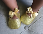 Baby Girl Gold  crib Shoes,Christening, Baptism, Wedding, soft sole .Ready to ship