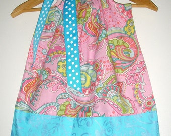 Turqoise Pink  floral  size  2T  READY to ship  pillowcase dress(app. 18 inches )