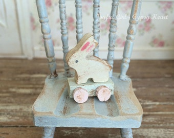 Little Baby Dollhouse Shabby nursery 1:12 miniatures Animal pull toy Rabbit