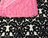 Minky Blanket - Black and White Damask Minky and Choose your Color Dimple Dot Backing - stylish baby blanket
