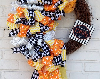 It's All About Candy Halloween Candy Corn Grapevine Wreath