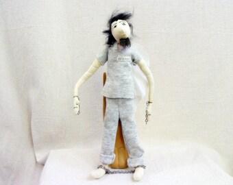 Original art doll soft sculpture, Death Row Inmate, Lost Souls