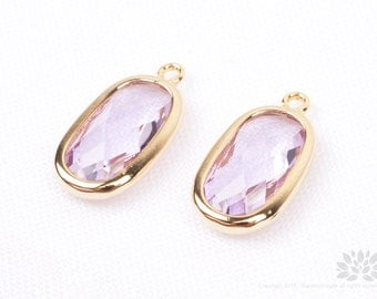 F128-G-VI// Gold Plated Violet Baguette Glass Pendant, 2 pcs