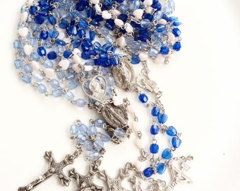 plastic rosary lot assorted colors religious necklaces with crosses 5 pieces lot C29