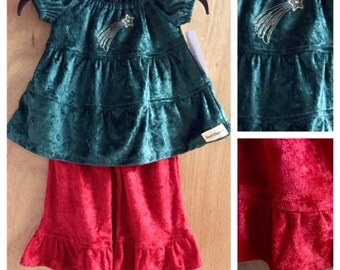 Christmas Peasant Top and Ruffle Pants, size 2t