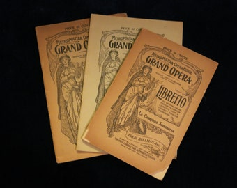 Antique (7) Opera Programs Metropolitan Opera House Scrapbooking, Halloween, Props, Paper Ephemera