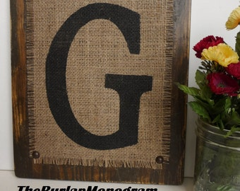 RUSTIC Burlap Brown Monogram G, Monogram G, Rustic, BURLAP, reception decor, BROWN 12x10 sign, Burlap Wedding Monogram Hanging Sign, Burlap