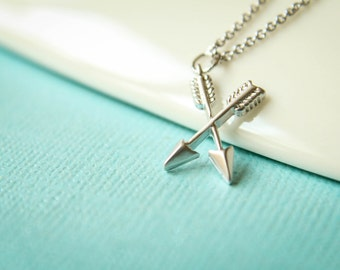 Crossed Arrows Necklace, Available in Matte Silver and Matte Gold