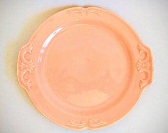 Vintage Pink Edwin M Knowles Semi Vitreous Plate