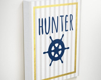 Wall Art Prints, Nautical Boys Room,Quotes on Canvas, Nursery Nautical, Personalized Name Art, Nautical Canvas Art Boy Gifts, Wall Art