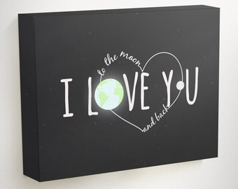 I Love You to the Moon and Back, I Love You Canvas, Love Canvas Art, Moon Wall Hanging, Moon Wall Art, Black Canvas Art, Bedroom Canvas,
