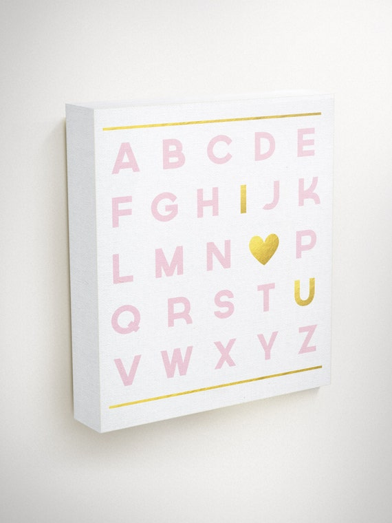 Alphabet Wall Decor Nursery : Alphabet print nursery wall art pink and gold decor