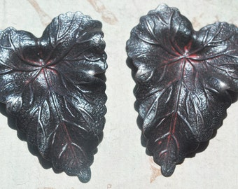 TWO Brass Leaves, Wicked Sassy Patina