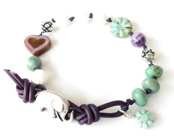 SALE Bohemian elephant bracelet in dark purple and turquoise, Czech flower and heart bead, carved shell beads, gift for best friend, UK shop